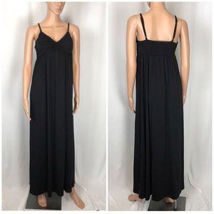Elle Black adjustable strap padded maxi dress Sz S